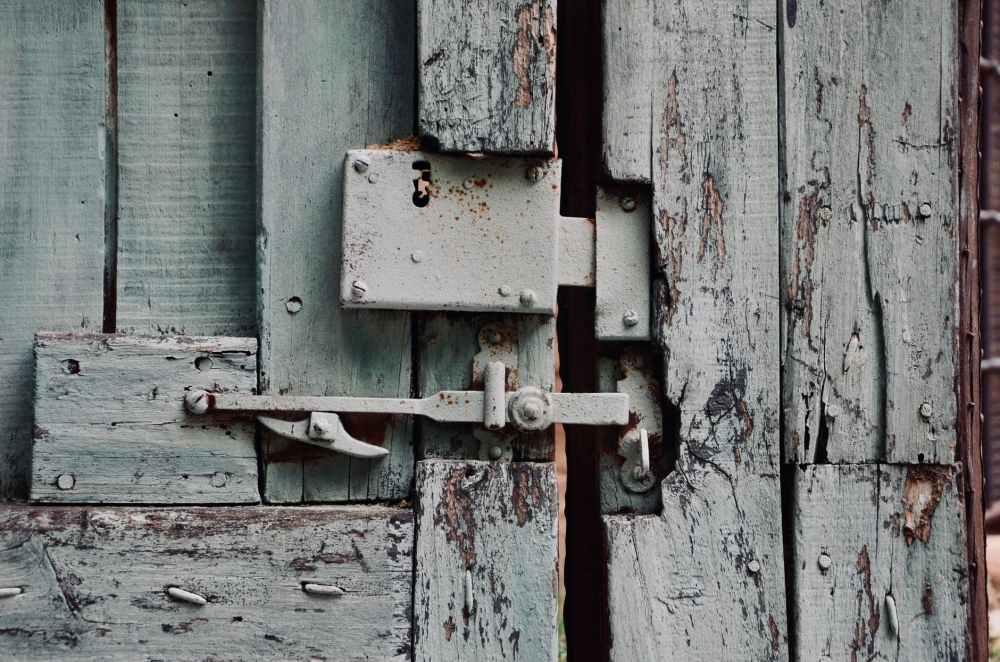 wooden door with doorlock